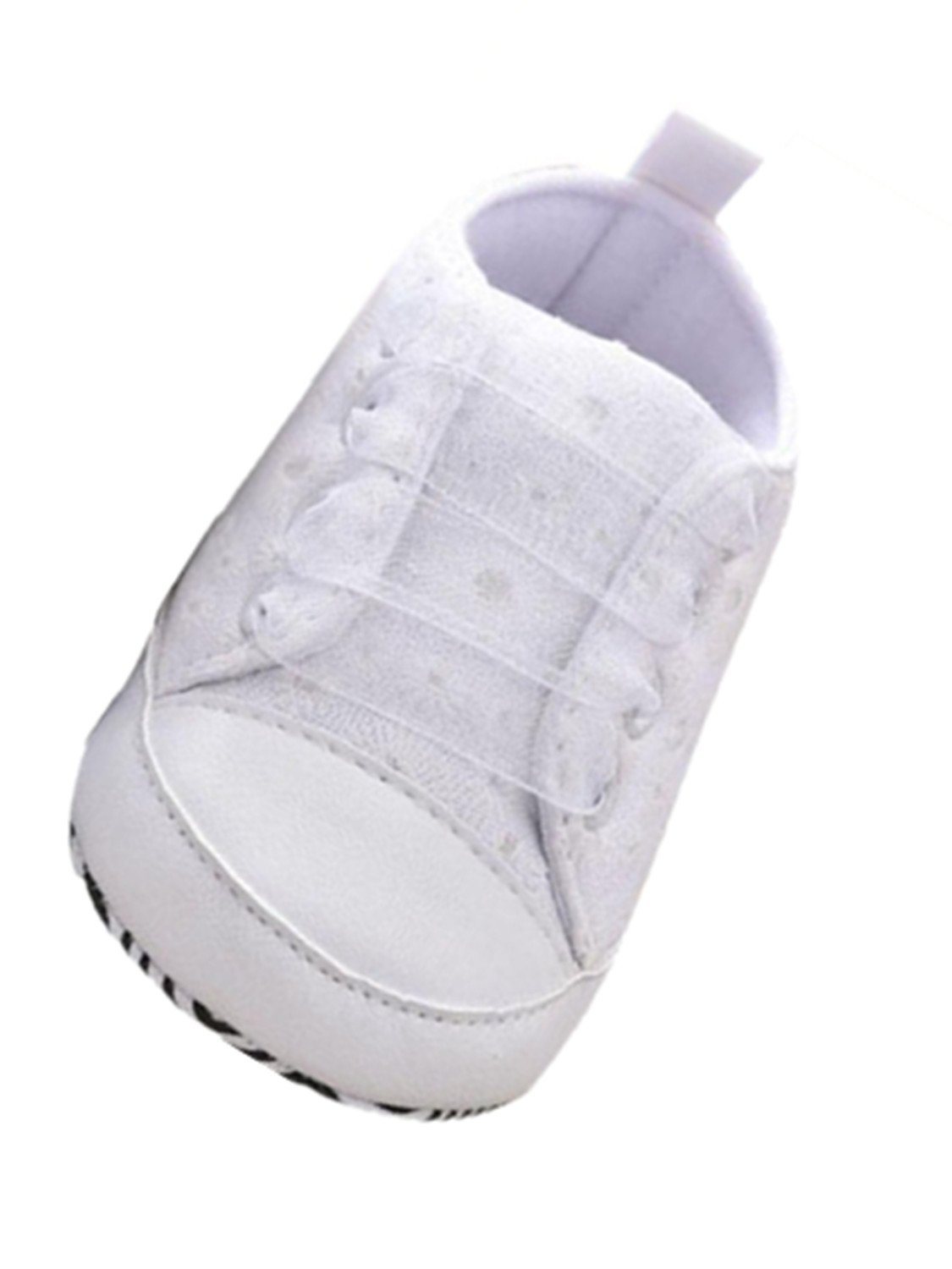Voberry Baby Girls Toddler Lace up Sneaker Anti-Slip Boots Crib Shoes (6~12 Month, White.2)