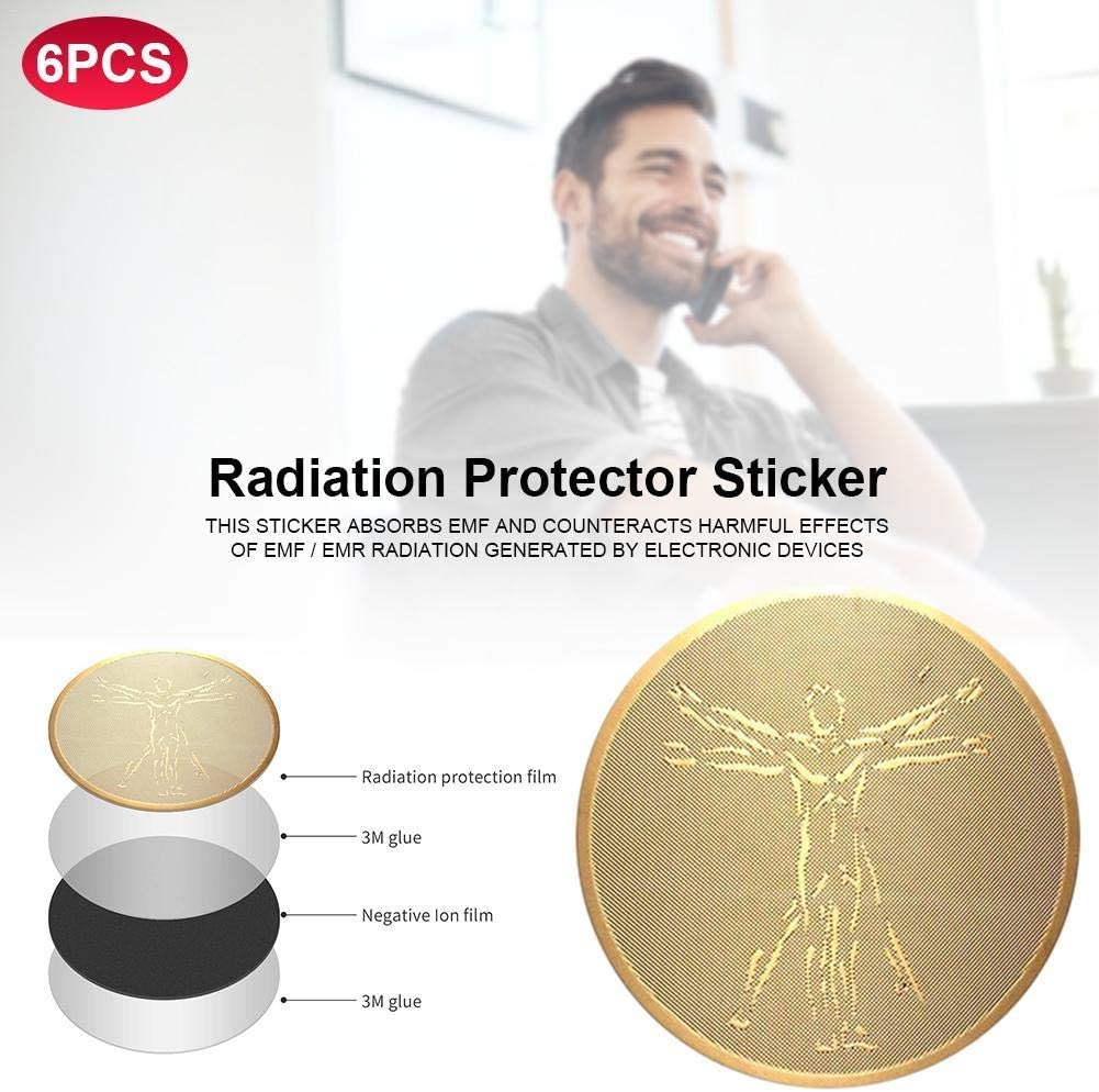 Rmeet Phone Radiation Protection Stickers,2 Pack EMF Protection Anti Radiation Protector Shield Neutralizer Blocker for CellPhone Electronics Laptops Tablets TV 24K Gold