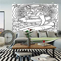 SoSung Nautical Wall Mural,Tattoo Coloring Book Style Sexy Pin Up Girl with Hibiscus Flowers Curls and Stars Decorative,Self-Adhesive Large Wallpaper for Home Decor 83x120 inches,Black White