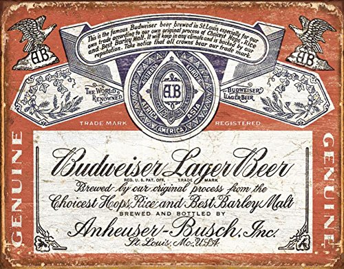 Budweiser - Weathered Tin Sign 16 x 13in (Label Sign Budweiser Tin)