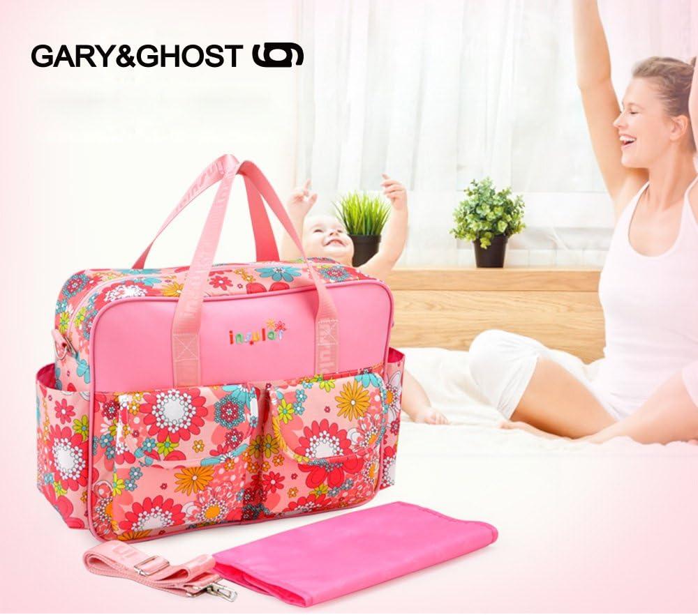 GARY/&GHOST-T8064-Impermeable Floral Bolso Cambiador Bolsa Maternal a Todos 39 x 12,50 x 32 CM Rosa y Flores