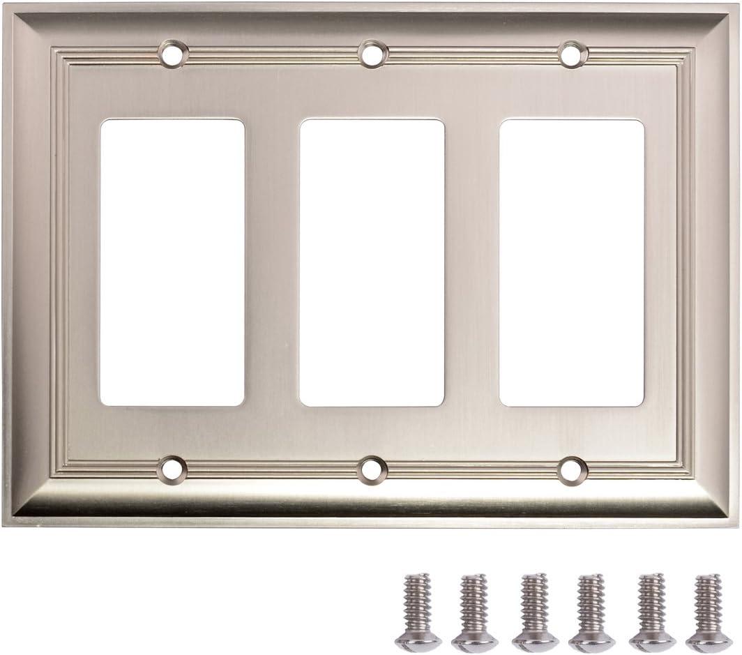Amazon Basics Triple Gang Light Switch Wall Plate Satin Nickel 1 Pack