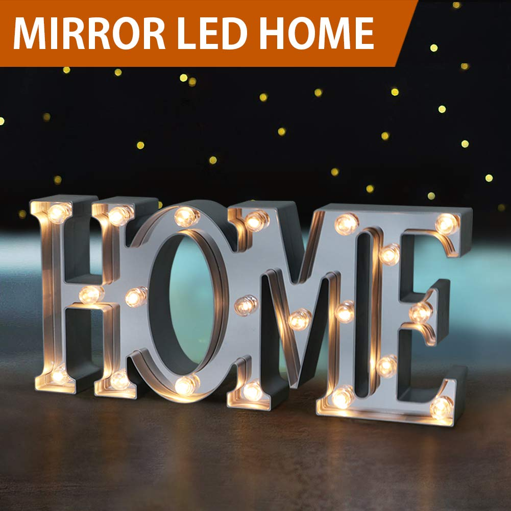 Bright Zeal 16'' Large Home LED Letter Marquee Sign (Mirror Imbedded, 6hr Timer) - Marquee Lights Battery Operated Home Decor Accents - Light Up Signs Wall Decor Home Decorations Living Room
