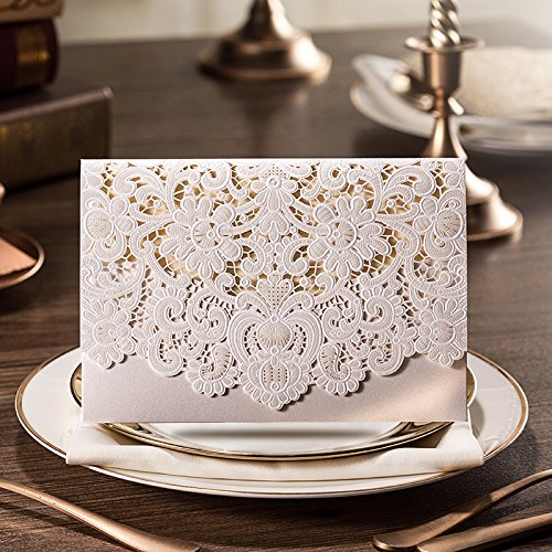 Doris Home Horizontal Laser Cut Wedding Invitation with White Hollow Flora Favors 1 piece