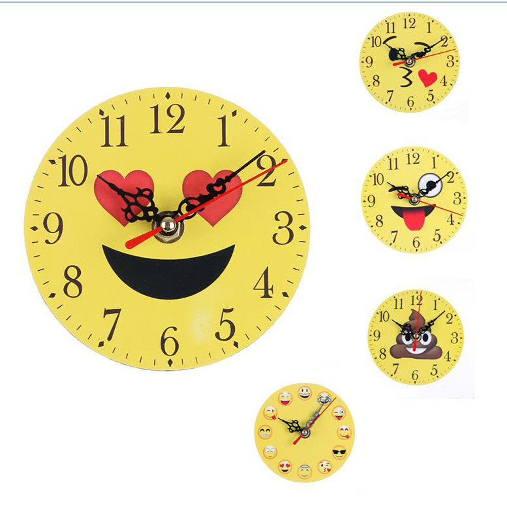 Amazon.com: Decorative Wall Clock, Transer Silent Emoji Emoticon ...