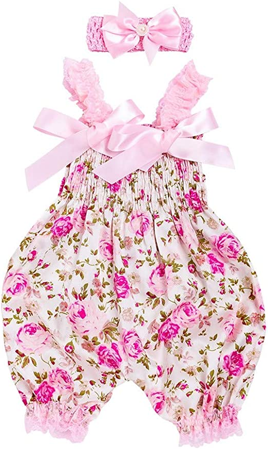 Toddler Infant Baby Girl Floral Romper Bodysuit Jumpsuit Headband Outfit Clothes