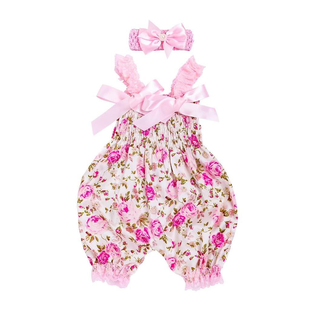 wuayi  Baby Girls Floral Sleeveless Romper Bodysuit Jumpsuit+Headband 0-12 Months