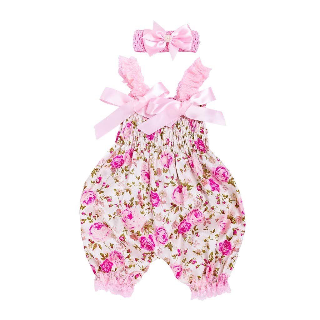 0-12M Toddler Baby Boys Girls Floral Print Romper Bodysuit Pearl Headband Sets Lace Fly Sleeves Jumpsuit Outfit (Pink, 0-3 M)