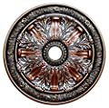 """Fine Art Deco """"Sublime Inspiration"""" Hand Painted Ceiling Medallion 30 In. Finished in Silver, Ivy, Copper Penny and Warm Silver"""