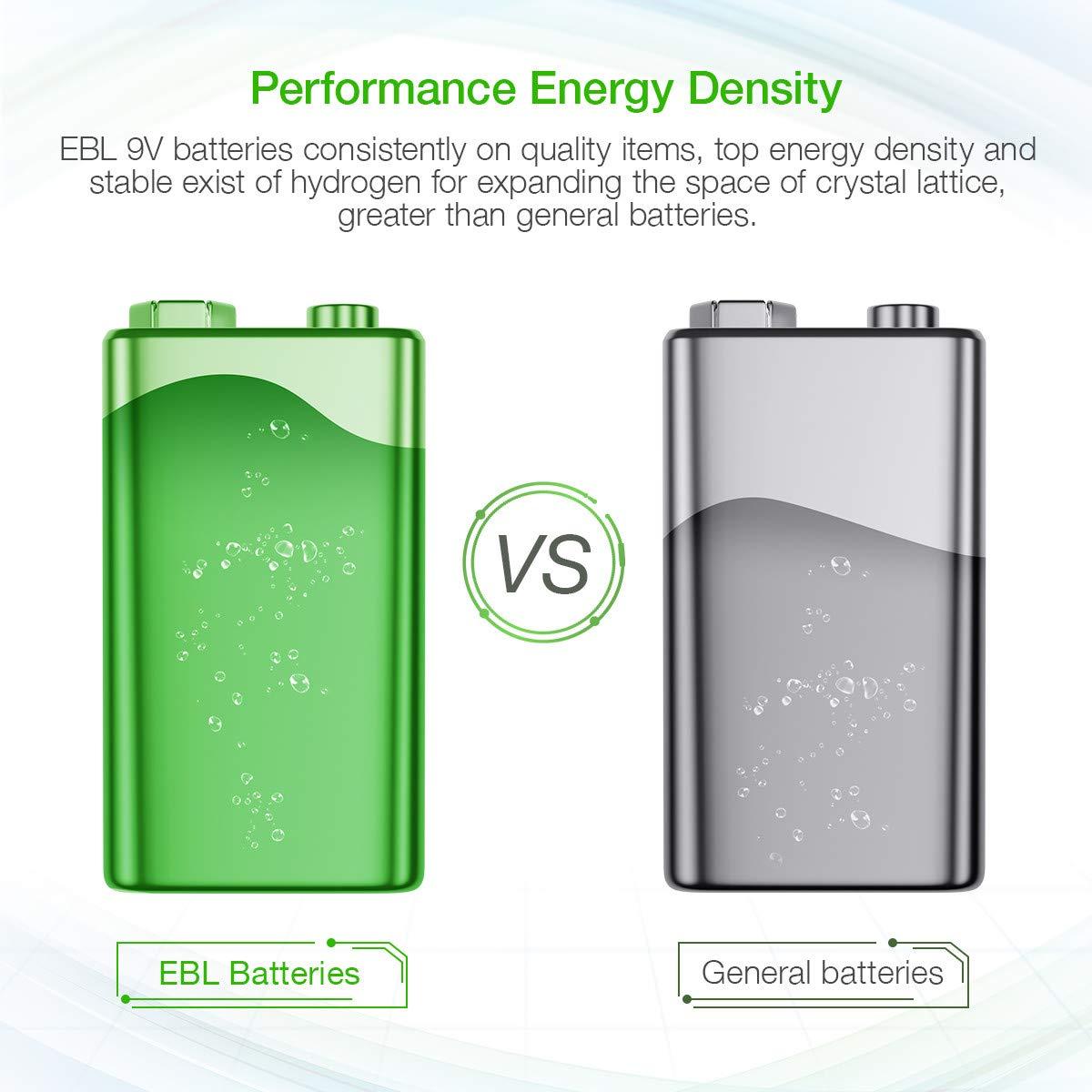EBL 9 Volt 600mAh Li-ion Rechargeable 9V Batteries Lithium-ion, 6 Pack