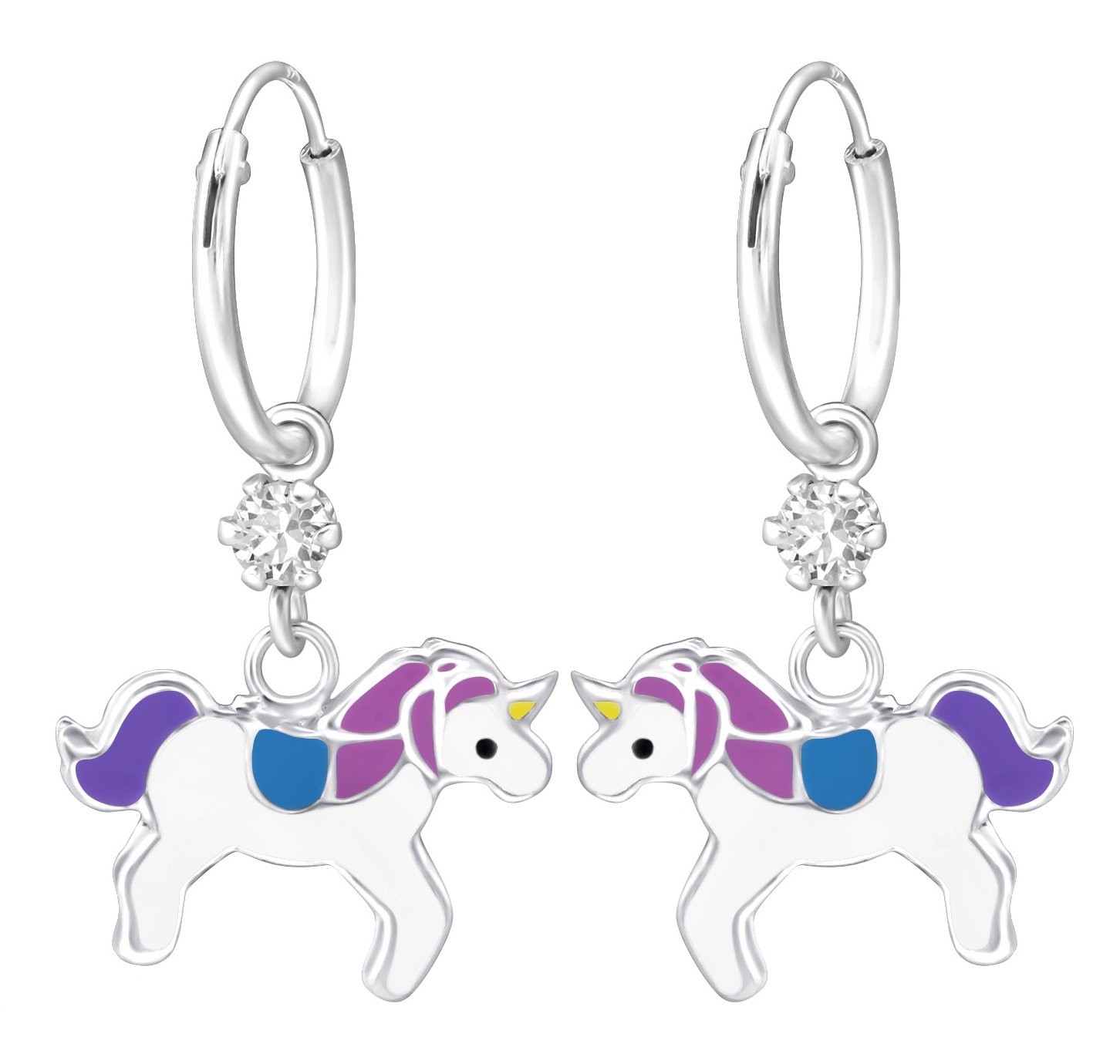 Best Wing Jewelry .925 Sterling Silver''Purple Blue Unicorn'' Made with Swarovski Crystal Hoop Dangle Earrings for Children and Teens
