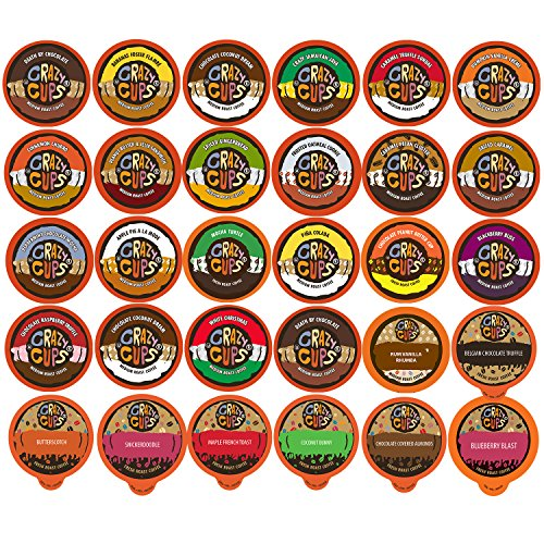 Crazy Cups Flavored Coffee, Variety Pack Sampler, 30 Count