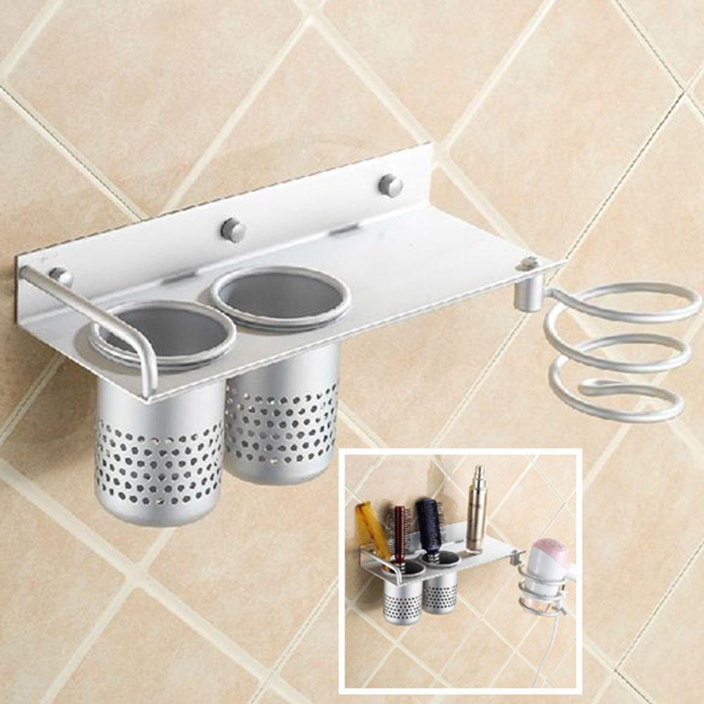 buytra Hair Dryer Holder Rack,Wall Mount with Cups,Bathroom Accessories Storage Organizer Aluminum Set