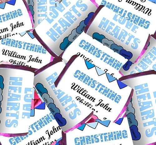 Amor personalizado corazón azul bautizo-Pack de 30: Amazon.es: Juguetes y juegos