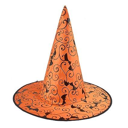 Qiusa Sombrero de Bruja para Mujer Adulto de Halloween 1 Piezas Bat para Accesorio de Vestuario