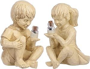Garden Solar Lighted Firefly Jar Boy Girl Statue Decor, Creative Resin Children Outdoor Sculpture, Decorative Statue for Gardens