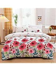 Jyhoney Botanical Floral Comforter Set Full Queen Size Rustic Boho Floral Printed Soft Microfiber Reversible Bedding Set Green Branch Leaves Red Flower Comforter Quilt Set,90x90inch,3pcs