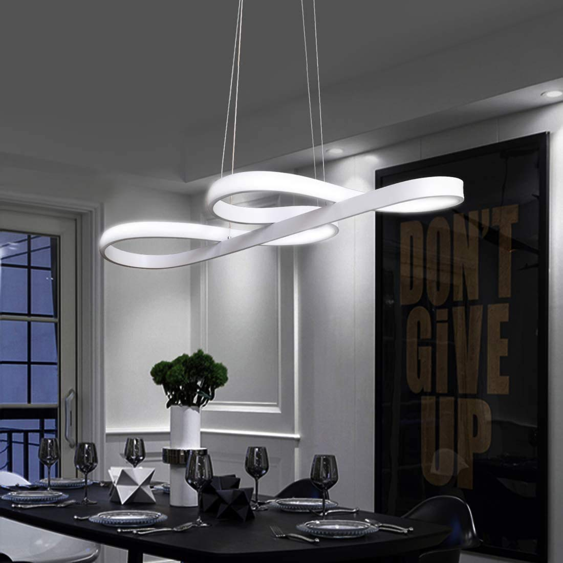 Design Decken Beleuchtung Hänge Pendel Leuchte Glas weiß Ess Zimmer Muster Welle