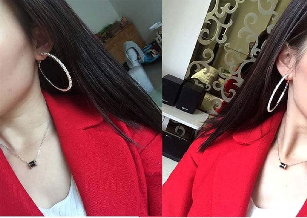 NewZenro Rhinestones CZ Extra Large Hoop Earrings for Women Girls Fashion Crystal Silver Plated Big Cubic Zirconia Huggie Hoops Bridal Jewelry Hypoallergenic