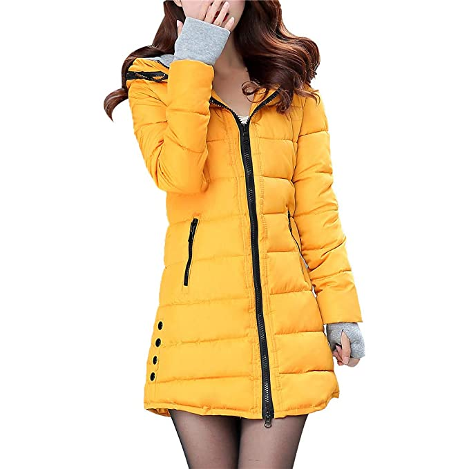 Amazon.com: Hunzed Womens Hooded Cotton Coat Long Sleeve with Gloves Cotton-Padded Jackets Pocket Outerwear (Large, Yellow): Kitchen & Dining