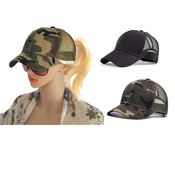 282bad1bc M_Eshop 2 Pack of Ponytail Baseball Cap Hat Ponycap Messy High Bun Ponytail  Adjustable Mesh Trucker