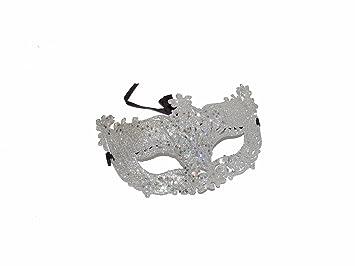 Unisex veneciano mascarada máscara de color plateado con purpurina estilo antiguo Filigrana Cut Out Glitter Masquerade