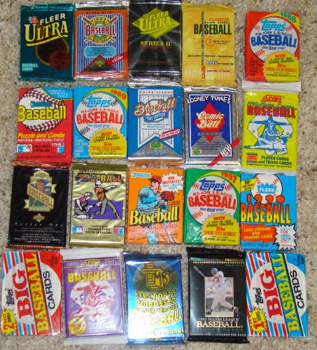 25 Original Unopened Packs of Vintage Baseball Cards - 1990s Sports
