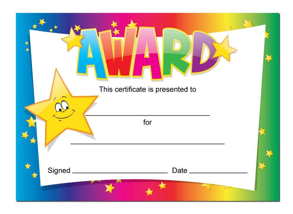 'Award' certificates - 16 x A6 cards, Schools,Teachers, kids, rainbow star theme StickerZone