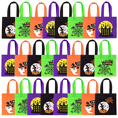 Cookie Monster Halloween Pail (Whaline Halloween Non-Woven Bags 24 Pack Trick or Treat Tote Gift Bags Reusable Candy Goodie Bags with Handles for Halloween Party)