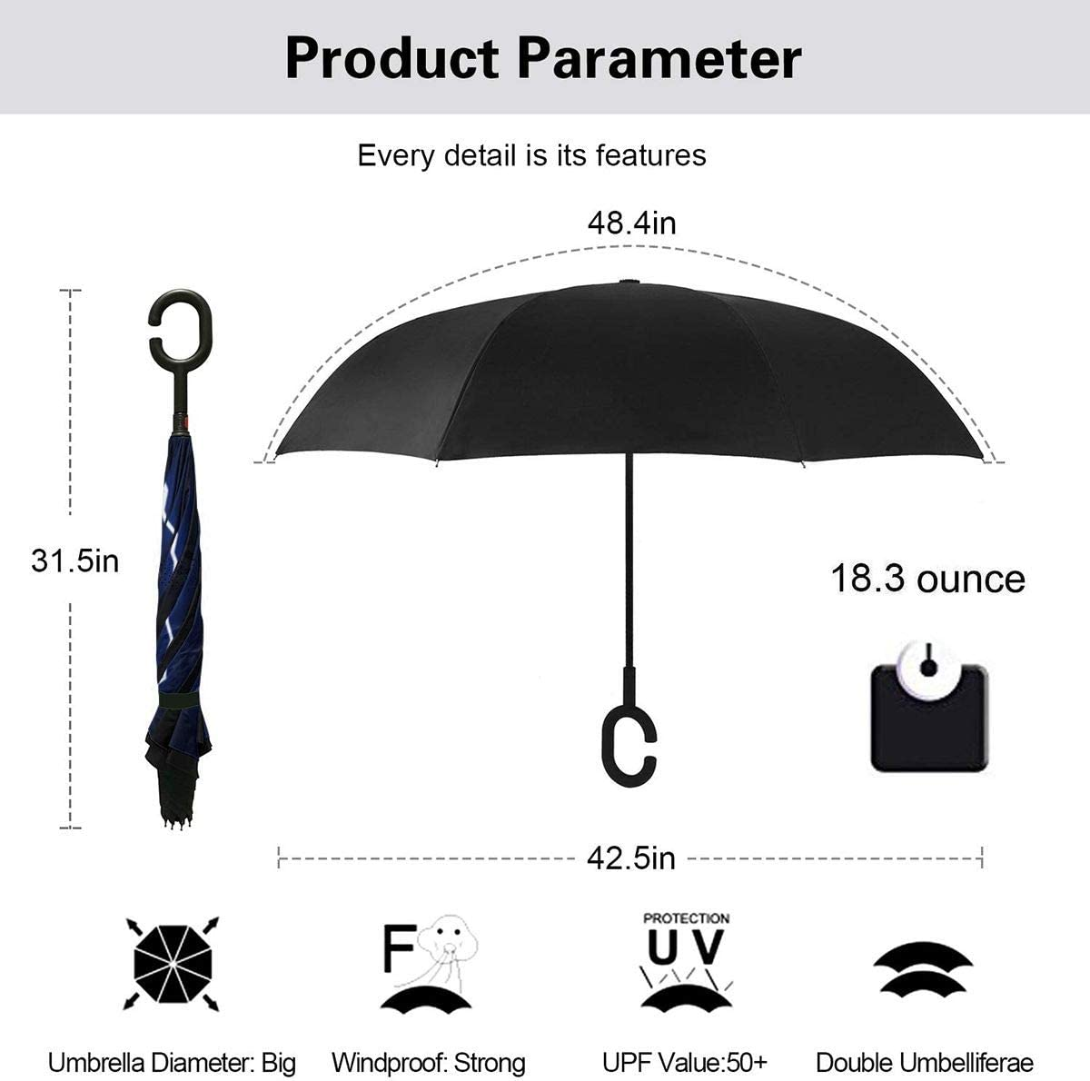 PYFXSALA Blue Lightning Bolts Windproof Inverted Umbrella Double Layer UV Protection Folding Reverse Umbrella for Car Rain Outdoor Self Stand Upside Down with C-Shaped Handle