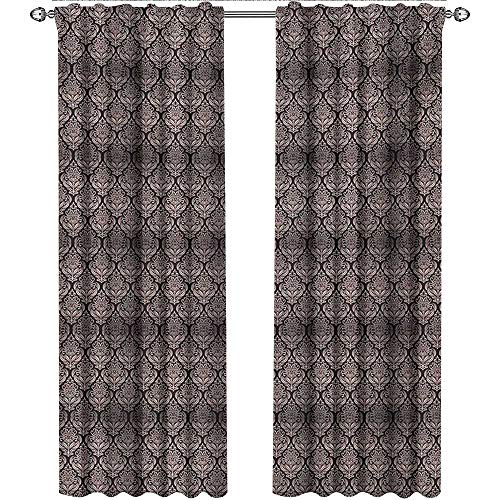 (shenglv Damask, Curtains and Valances, Ancient Byzantine Pattern with a Modern Design Traditional Tile Flower, Curtains for Bedroom, W96 x L96 Inch, Beige and Charcoal Grey)
