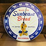 "SUNBEAM BREAD - THERMOMETER 12"" Round Glass Dome Sign - Brand New - Vintage Style"