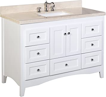 Abbey 48 Inch Bathroom Vanity Crema Marfil White Includes White