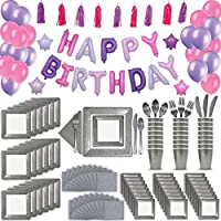24 Guest Silver & Pink Fancy Birthday Party Supplies & Decorations. 2 Size Square Plates, Cups, Napkins, Cutlery, Pink & Purple Balloon Birthday Banner, Tassel Garland Decoration, Latex Balloons