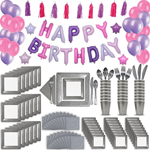 - 24 Guest Silver & Pink Fancy Birthday Party Supplies & Decorations. 2 Size Square Plates, Cups, Napkins, Cutlery, Pink & Purple Balloon Birthday Banner, Tassel Garland Decoration, Latex Balloons