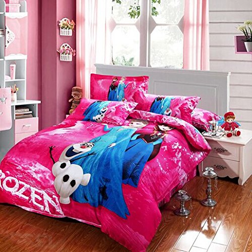 Anna & Elsa 100% Cotton 4pcs Frozen 3D Cartoon Bedding Sets Quilt Bed Linen Bed Clothes (Queen, Pink)