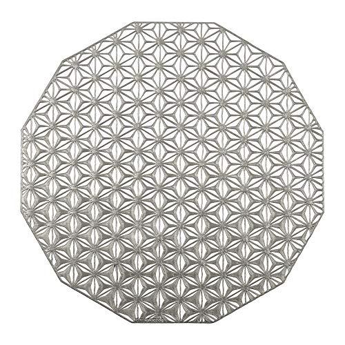 - CHILEWICH. Pressed Vinyl Kaleidoscope Round Placemat - Gunmetal 14