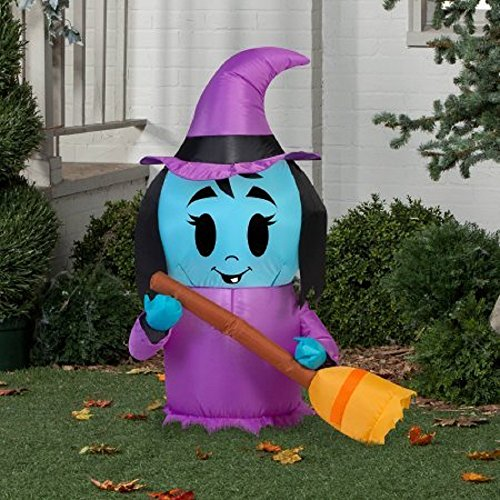 Halloween Decoration Airblown Inflatable 3.5' X 2.5' Happy Witch (Halloween Blow Up)