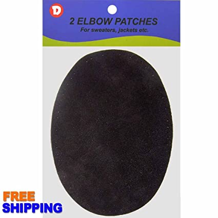 Grey Lt Two Large Sew-On Natural Suede Elbow Patches 4.75 in x 6.5 in