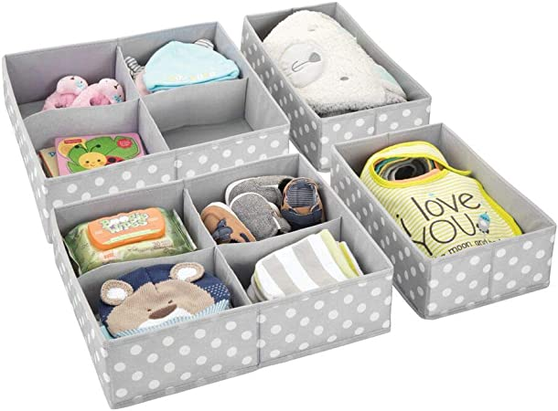 mDesign Juego de 4 cajas de almacenaje para habitaciones ...