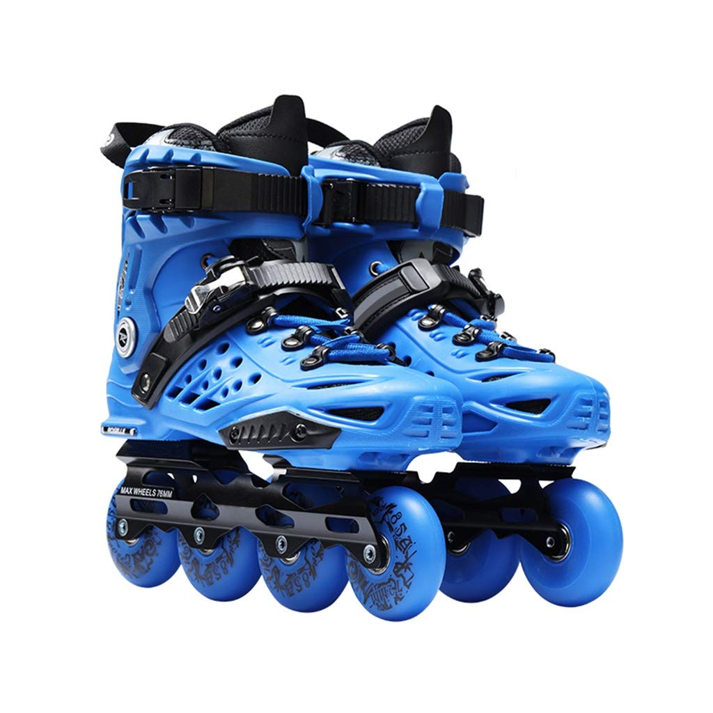 YANGXIAOYU Adult Beginner Single Row Skates, Professional Fancy Inline Roller Shoes, Anti-Collision Shock Absorption, Breathable, 2 Colors (Color : Blue, Size : EU 35/US 4/UK 3/JP 22.5cm)
