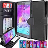 Note 4 Case, CellEver Galaxy Note 4 Wallet Case, Luxury PU Leather Case Flip Cover with Card Slots & Stand For Samsung Galaxy Note 4 - Black