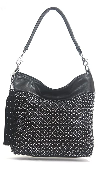 Amazon.com  Zzfab Laser Cut Circle Sparkle Hobo Bag Black  Shoes a9a68722b7e1c