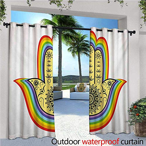 homehot Hamsa Patio Curtains Good Luck Charm with Delicate Lotus Inspired Flower Details and Mandala Arabic Amulet Outdoor Curtain for Patio,Outdoor Patio Curtains W96 x L96 ()