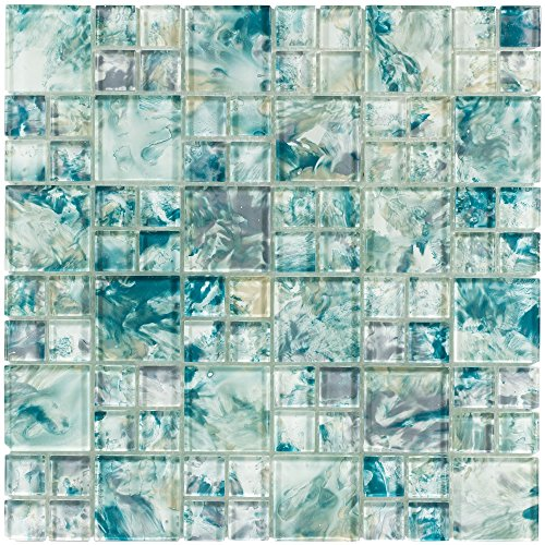 MTO0112 Modular Blue Gray Yellow Turquoise Glossy Translucent Glass Mosaic Tile ()