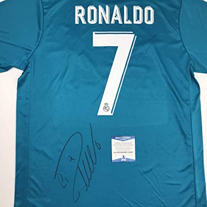 d4e90ac8 Autographed/Signed Cristiano Ronaldo Real Madrid Blue Soccer Jersey ...