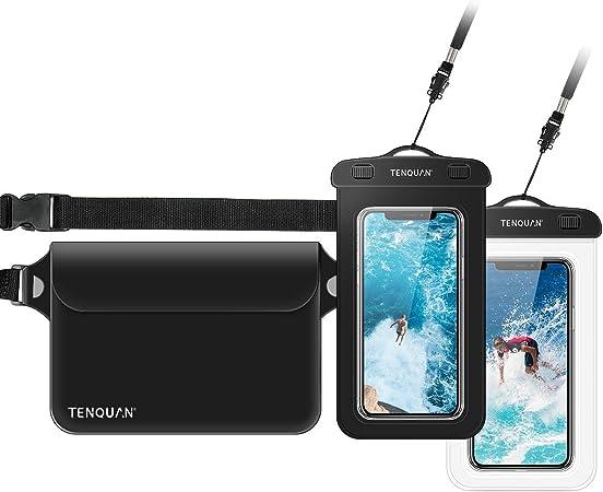 TENQUAN 2 fundas impermeables para teléfono móvil y 1 bolsa impermeable para guardar la cintura con correa para el hombro, color negro (2 fundas + 1 ...