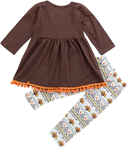 Pants Clothes 2PCS Outfits Thanksgiving Day Fall Colors Boutique OBEEII Toddler Kid Girl Turkey T-Shirt Top Dress