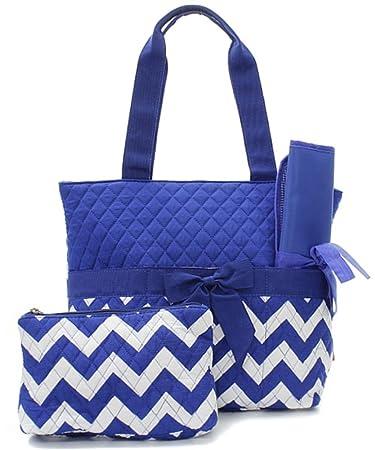 Amazon.com: Acolchada Royal azul y blanco Cheurón ...