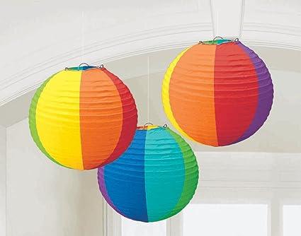 amazon com rainbow multi colored paper lanterns 3ct kitchen dining